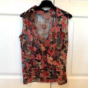 Passion Chiffon Floral Collar Top size S